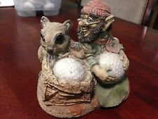 Vtd Harry Miller 1988 Chalkware Gnome/Squirrel/Golf Figurine - Glass Eyes!
