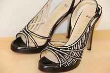 E! RED Carpet E0045 High Heel Dress Pumps Sandals Shoes Sz 9 Black Satin