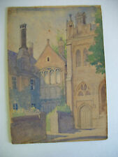 Antique 1907 Painting of VICARS' CLOSE, WELLS Somerset, England