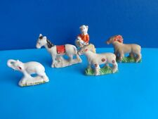5 VINTAGE COLLECTIBLE BISQUE ANIMALS- 3 HORSES, PIG, ELEPHANT- MADE IN JAPAN