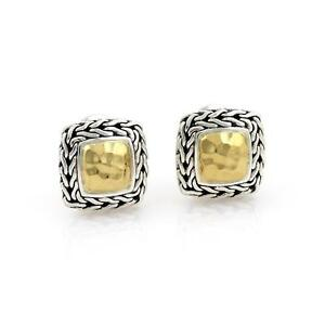 John Hardy 22k Gold Sterling Silver Wheat Design Post Clip Earrings