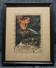 ANTIQUARIAN BOOKPLATE Dr. Milton Oscar Reich - Framed Circa 1910 - EROTIC