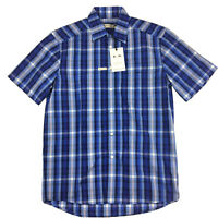 RM Williams Mens Hervey Short Sleeve Blue and White Check Shirt Size S NEW