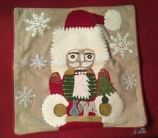 "NEW POTTERY BARN Christmas Nutcracker Crewel Embroider Pillow Cover 18"" SOLD OUT"