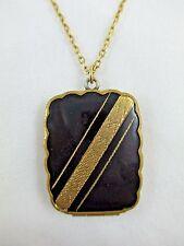 Photo Locket Pendant Necklace 252B Vintage Deco Enamel 12K Gold Filled