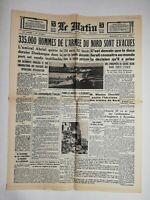 N799 La Une Du Journal Le Matin 5 juin 1940 335.000 hommes évacués