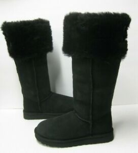 UGG OVER THE KNEE BAILEY BUTTON WOMEN BOOTS SUEDE BLACK US 11 /UK 9 /EU 42