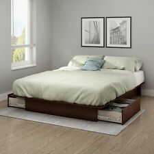 Queen Full Size Bed Frame Wood Bedroom Furniture Platform With 2 Drawers Storage