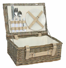 WILLOW PICNIC BASKET 2 PERSON OUTDOOR WICKER HAMPER SET PLATES CUTLERY