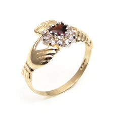 Claddagh Ring with Garnet & Diamond-Unique Heart Ring 9ct Gold (CL20)