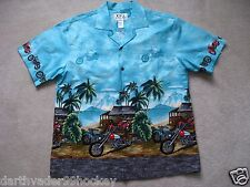 KY's HAWAII ● MOTORCYCLE HAWAIIAN SHORT SLEEVE COCONUT BUTTON SHIRT ● L  LG NWOT