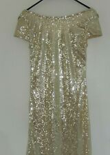 STUNNING GOLD SEQUIN BALL GOWN / PROM DRESS, SIZE 10, DROP BACK