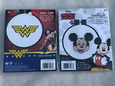 "Set Of 2 Cross Stitch Kits: Disney Mickey Mouse & DC Wonder Woman 3""D Age 8+ BN"