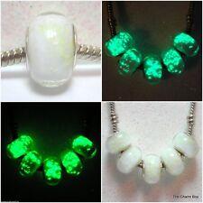 'WHITE ULTRAGLOW' Glow in Dark Murano Glass European Charm Bead