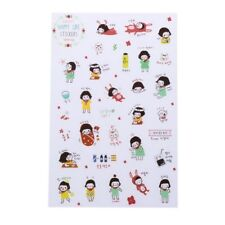 6 Sheets Cartoon Korean Girl Planner Stickers Diary Scrapbook Calendar Decor
