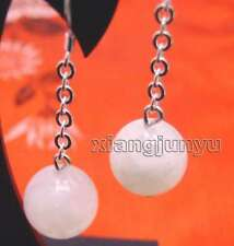10mm Round White Natural High Quality Moonstone Dangle 2'' Hook earring -ear324