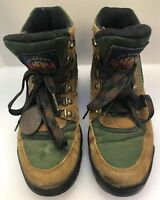 HH Brown Women 9 M Hiking Boots Gore Tex Brown Suede Leather Green Canvas 5515