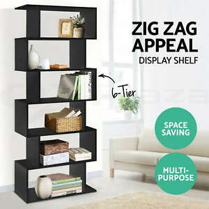 6 Tier Display Cabinet Bookcase Display Shelf Storage Cabinet shelves Black