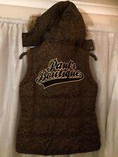 pauls boutique Gillet Animal Print Leopard L Body warmer Designer Hood Top 12 14