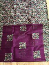 INDIA BHAGALPURI Art silk saree PURPLE Green FLORAL Unstitched Blouse USA SELLER