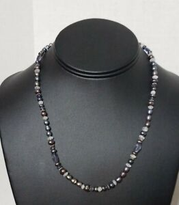 SAJEN pearl Beaded Purple Necklace Sterling silver 925 Clasp