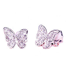 Clip On Chic Butterfly Crystal Diamante Rhinestone Silver Earrings