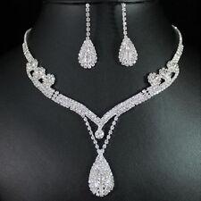 Bridal New Clear Austrian Crystal Rhinestone Water Drop Necklace Earrings Set JJ
