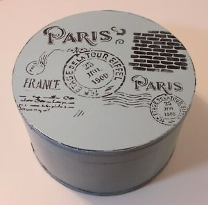 Shabby Blue Chippy Large Round Stenciled Hat Box - French Country Vintage Style