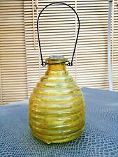 ancien piège à mouches en verre moulé jaune début 20 ème