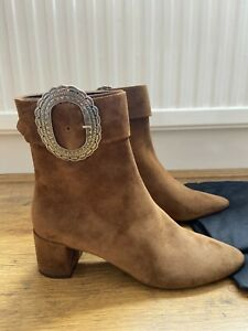 RRP £950 BN Saint Laurent Tan Suede Buckle Ankle Boots from Matches Fashion