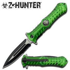 Tactical Z-Hunter Zombie Green Skull Outdoor Spring Assisted Knife Open Switch