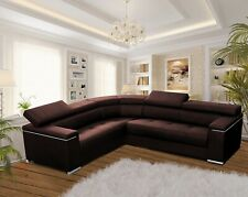 Modern Corner Sofa SILVA 1 Brown Faux Leather Storage Pull Out Bed LEFT Corner