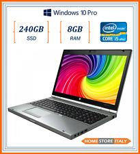 """pc portatile notebook usato ricondizionato 15"""" RAM 8GB SSD 240GB HP 8570p i5"""