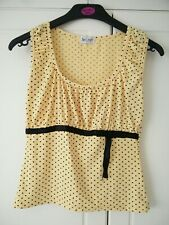 Lovely Yellow &Black Spotted Top By Secret Size Small