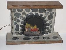 VINTAGE DOLLHOUSE MINIATURE RUSTIC STONE FIREPLACE  W. LIGHTED  ELECTRIC LOGS