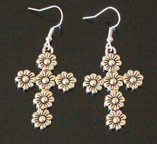 Dangle Drop Flower Cross Tibetan Antique Silver Earrings (28A)