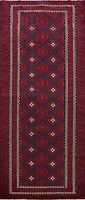 Geometric Tribal Balouch All-Over Runner Rug Hand-knotted Oriental 4'x10' Carpet