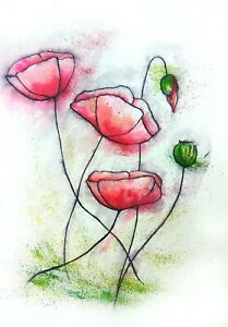 93 Original Poppies painting abstract illustration watercolour decor room signed