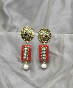 Handmade Bollywood Classy Ethnic Kundan Pearl stone work Stud Drop earrings
