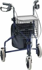 Drive TW015B Blue Tri Walker Walking Frame With Bag, Basket & Tray