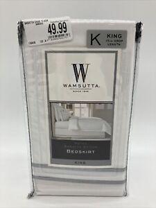 "Wamsutta King Hotel Baratta Stitch Bedskirt 15"" Drop Length Charcoal 78"" x 80"""