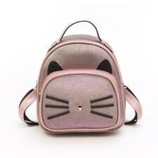 Mini Backpack with Cat Ears Small Shoulder Bag Gradient Color Faux Leather