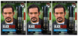 Blackbeard for Men Temporary Colour Mascara Beard Moustache Eyebrows BLACK X3