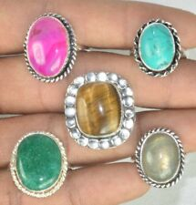 New Lot !! 50 PCs. TIGER EYE & TURQUOISE 925 Sterling Silver Plated Ring Jewelry