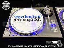 2 custom silver/chrome Technics SL 1200 mk5's w blue leds & halos dicer inlays
