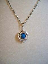 LOVELY ART NOUVEAU STYLE ANTIQUE SILVER TURQUOISE GEMSTONE PENDANT NECKLACE