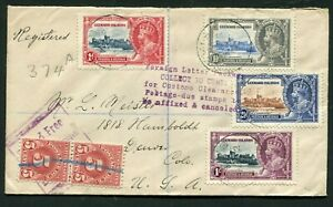 1935 Silver Jubilee Leewards Islands set on cover to USA interesting cachets