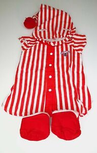 Vintage Teddy Ruxpin Outfit Red & White Nightshirt 1980s 4 Piece Clothing Nice!