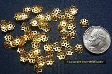 50 Yellow gold plated metal 6mm filigree bead caps Victorian design caps fpb071