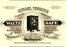 1898 CHAS WALTZ INVENTOR & SAFE MFGR, SAN FRANCISCO, CA WALTZ SAFE ADVERTISEMENT